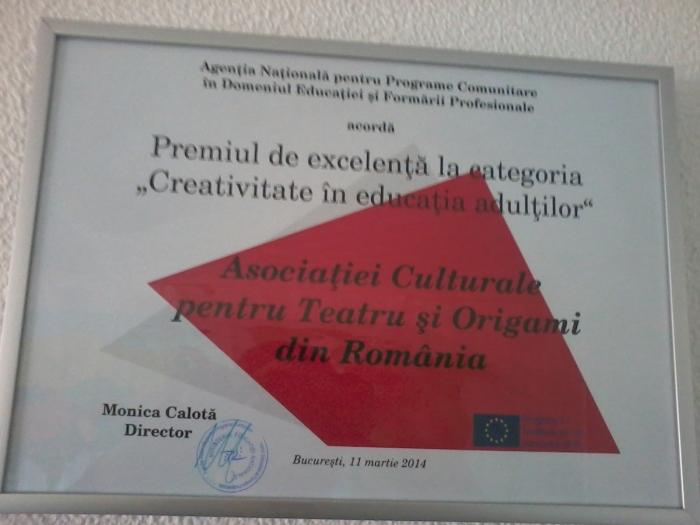 ACTOR premiu pentru creativitate in educatia adultilor